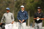 (L-R) Rickie Fowler, Jordan Spieth and Max Homa of the United States wait together during a practice round prior to the 120th U.S. Open Championship on September 15, 2020 at Winged Foot Golf Club in Mamaroneck, New York.