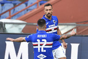 Fabio Quagliarella of UC Sampdoria celebrates with Fabio Depaoli during the Serie A match between UC Sampdoria and  Hellas Verona at Stadio Luigi Ferraris on March 8, 2020 in Genoa, Italy.