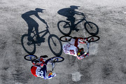 Image has been rotated.)  Maris Strombergs #81 of Latvia and Joris Daudet #31 of France compete in Heat 6 of the Mens Elite UCI BMX Supercross World Cup held at Papendal Outdoor Olympic Training Centre on May 10, 2015 in Arnhem, Netherlands.