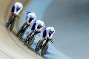 Ed Clancy, Steven Burke, Owain Doull and Andrew Tennant of the Great Britain Cycling Team compete in the gold medal Mens Team Pursuit race during day 2 of the UCI Track Cycling World Championships held at National Velodrome on February 19, 2015 in Paris, France.