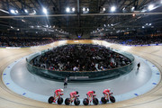 Daniel Hartvig, Anders Holm, Rasmus Christian Quaade and Casper Von Folsach of Denmark Cycling Team compete in the Men's Team Pursuit qualifying round during day 1 of the UCI Track Cycling World Championships held at National Velodrome on February 18, 2015 in Paris, France.