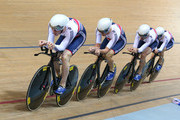 Ed Clancy, Steven Burke, Owain Doull and Andrew Tennant of the Great Britain Cycling Team win the silver medal in the Men's Team Pursuit Final during day two of the UCI Track Cycling World Championships at the National Velodrome on February 19, 2015 in Paris, France.