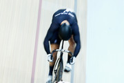 Hersony Canelon (bottom) of Venezuela Cycling Team and Edward Dawkins of New Zealand compete in the Mens Sprint 1/8 Final race during day 4 of the UCI Track Cycling World Championships held at National Velodrome on February 21, 2015 in Paris, France.