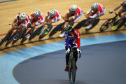 Victoria Pendleton of Great Britain watches the Danish pursuit team as she warms up for a training session ahead of the UCI Track Cycling World Cup - LOCOG Test Event for London 2012 Media Day at the London Olympic Velodrome on February 14, 2012 in London, England.