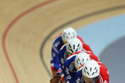 Geraint Thomas leads the Great Britain Men's Team Pursuit during training for the UCI Track Cycling World Cup - LOCOG Test Event for London 2012 Media Day at the London Olympic Velodrome on February 14, 2012 in London, England.