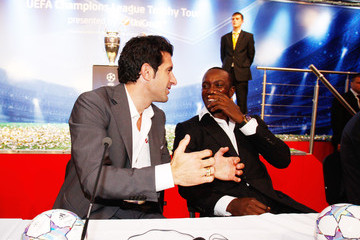 Luis Figo Dwight Yorke UEFA Champions League Trophy Tour 2011