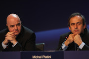 UEFA President Michel Platini (R) and UEFA General Secretary Gianni Infantino give a press conference after the XXXIV Ordinary UEFA Congress on March 25, 2010 in Tel Aviv, Israel.
