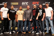 (L to R) James Te Huna, George Sotiropoulos, BJ Penn, Managing Director of International Development UFC, Marshall Zelaznik, Jon Fitch, Kyle Noke and Anthony Perosh pose for a photo during a UFC 127 Press Conference at Star City on December 14, 2010 in Sydney, Australia.