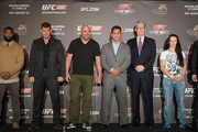 Elizabeth Phillips, Tyron Woodley, Michael Bisping, Dana White, Cung Le, Edward Tracy, Milana Dudieva, Dong Hyun Kim, Alberto Mina at the Macao UFC Fight Night Press Conference at the Four Season Hotel on August 20, 2014 in Hong Kong.