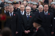 (L-R) Scottish National Party's Parliamentary Group Leader Angus Robertson, Labour leader Jeremy Corbyn and British Prime Minister David Cameron attend the annual Remembrance Sunday Service at the Cenotaph on Whitehall on November 8, 2015 in London, United Kingdom. People across the UK gather to pay tribute to service personnel who have died in the two World Wars and subsequent conflicts.