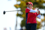 Cristie Kerr of the United States hits a tee shot on the 9th hole during the Singles match against Georgia Hall of England on day four of the UL International Crown at Jack Nicklaus Golf Club on October 7, 2018 in Incheon, South Korea.