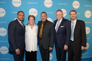 Vice Chair Brannigan Thompson, President & CEO U.S. Fund for UNICEF Caryl Stern, Actor Laurence Fishburne, Chair Steve Eaton, and Chair Jeremy Cole attend UNICEF's Evening For Children First at The Foundry At Puritan Mill on March 17, 2017 in Atlanta, Georgia.
