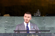 David Beckham speaks onstage during UNICEF Goodwill Ambassadors David Beckham and Millie Bobby Brown Headline UN Summit To Demand Rights For Every Child On World Children's Day 2019 on November 20, 2019 in New York City.