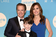Kyle MacLachlan,Callum MacLachlan and Desiree Gruber attend the UNICEF USA's 14th Annual Snowflake Ball at Cipriani Wall Street on November 27, 2018 in New York City.