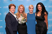 (L-R) President and CEO of the US Fund for UNICEF Caryl M. Stern, CEO of the Home Shopping Network Mindy Grossman, UNICEF author Hilary Gumbel and Donna D'Cruz attend UNICHEF Book Party at The Lamb's Club on September 15, 2014 in New York City.