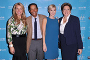 (L-R) CEO of the Home Shopping Network Mindy Grossman, journalist Bryant Gumbel, UNICEF author Hilary Gumbel and President and CEO of the US Fund for UNICEF Caryl M. Stern attend UNICHEF Book Party at The Lamb's Club on September 15, 2014 in New York City.