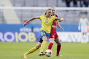 Fridolina Rolfo of Sweden and Becky Sauerbrunn of USA competes for the ball during the international friendly between Sweden and USA at Ullevi Stadium on June 8, 2017 in Gothenburg, Sweden.