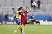 Lotta Schelin of Sweden and Becky Sauerbrunn of USA competes for the ballduring the international friendly between Sweden and USA at Ullevi Stadium on June 8, 2017 in Gothenburg, Sweden.