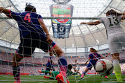 Tobin Heath #17 of the United States scores on a shot past Ayumi Kaihori #18 of Japan in the second half in the FIFA Women's World Cup Canada 2015 Final at BC Place Stadium on July 5, 2015 in Vancouver, Canada.