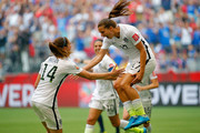 Tobin Heath #17 of the United States celebrates with Morgan Brian #14 after Heath scores in the second half against Japan in the FIFA Women's World Cup Canada 2015 Final at BC Place Stadium on July 5, 2015 in Vancouver, Canada.