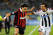 (R to L) Aleksandar Lukovic of Udinese Calcio competes with Filippo Inzaghi of AC Milan during the serie A match between Udinese Calcio and AC Milan at Stadio Friuli on September 23, 2009 in Udine, Italy.