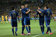Jeremy Menez of France celebrates scoring the first goal with Karim Benzema and Samir Nasri of France during the UEFA EURO 2012 group D match between Ukraine and France at Donbass Arena on June 15, 2012 in Donetsk, Ukraine.