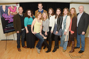 "(L-R) Actors Andrew Polk, Dierdre Friel, Megan Sikora, Matt Walton (in back) Kerry Butler, Kate Loprest and Allison Strong, director Kirsten Sanderson, producer Marla McNally Philips and actor Edward James Hyland attend the ""Under My Skin"" cast meet & greet on March 24, 2014 in New York City."