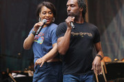 Rema Webb and Andre Ward perform at the United Airlines Presents: #StarsInTheAlley Produced By The Broadway League on June 1, 2018 in New York City.