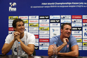 Nathan Adrian (L) and Ryan Lochte attend a United States Swim Team press conference on day seven of the 16th FINA World Championships at the Kazan Arena on July 31, 2015 in Kazan, Russia.