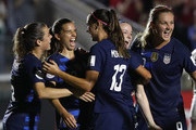 Tobin Heath #17 celebrates with teammate Alex Morgan #13 of USA  after scoring a goal against Mexico during the Group A - CONCACAF Women's Championship at WakeMed Soccer Park on October 4, 2018 in Cary, North Carolina.