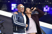 Vin Diesel and Sung Kang speak onstage during Universal Pictures Presents The Road To F9 Concert and Trailer Drop on January 31, 2020 in Miami, Florida.