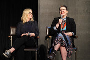 "Amy Poehler and Leslye Headland (R) participate in Universal Television's ""Russian Doll"" FYC panel at UCB Sunset Theater on June 03, 2019 in Los Angeles, California."