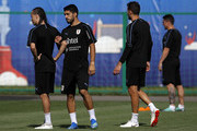 Luis Suarez of Uruguay and Diego Laxalt of Uruguay looks on during a training session at Sports Centre Borsky on July 5, 2018 in Nizhny Novgorod, Russia.