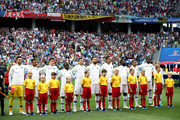France lines up prior to the 2018 FIFA World Cup Russia Quarter Final match between Uruguay and France at Nizhny Novgorod Stadium on July 6, 2018 in Nizhny Novgorod, Russia.