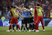 Uruguay players celebrate their victory following the 2018 FIFA World Cup Russia Round of 16 match between Uruguay and Portugal at Fisht Stadium on June 30, 2018 in Sochi, Russia.