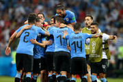 Uruguay team celebrate their victory following the 2018 FIFA World Cup Russia Round of 16 match between Uruguay and Portugal at Fisht Stadium on June 30, 2018 in Sochi, Russia.