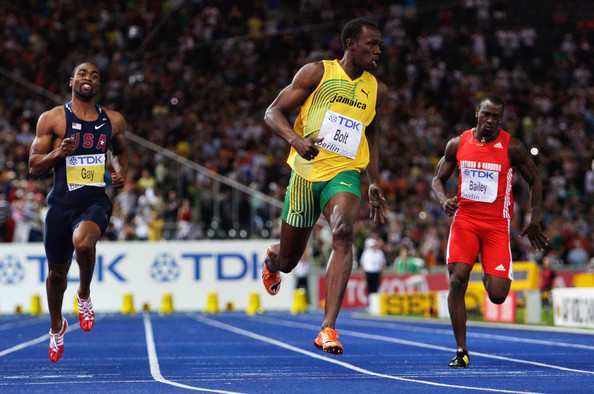 12th IAAF World Athletics Championships - Day Two [athletics,sports,athlete,running,track and field athletics,individual sports,sprint,recreation,800 metres,championship,men,usain bolt,line,gold medal,record,bolt,jamaica,berlin,germany,iaaf world athletics championships]