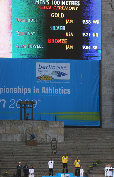 12th IAAF World Athletics Championships - Day Three [advertising,signage,banner,men,tyson gay,silver medal,gold medal,bronze medal,l-r,jamaica,united states,iaaf world athletics championships,medal ceremony]
