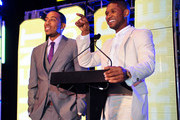 Ludacris and Usher speak at the 15th Anniversary Celebration of Usher's New Look at the President's Circle Awards Luncheon on July 31, 2014 in Atlanta, Georgia.