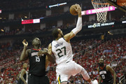 Rudy Gobert #27 of the Utah Jazz goes up for a shot defended by Clint Capela #15 of the Houston Rockets in the first half during Game Two of the Western Conference Semifinals of the 2018 NBA Playoffs at Toyota Center on May 2, 2018 in Houston, Texas.  NOTE TO USER: User expressly acknowledges and agrees that, by downloading and or using this photograph, User is consenting to the terms and conditions of the Getty Images License Agreement.