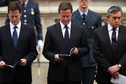 (L-R) Liberal Democrat leader Nick Clegg, Conservative Party Leader David Cameron and Labour Party Leader and Prime Minister Gordon Brown attend VE Day 65th anniversary tributes at the Cenotaph in Whitehall on May 8, 2010 in London, England. The ceremony commemorates the Victory in Europe day, declared on 8 May 1945.
