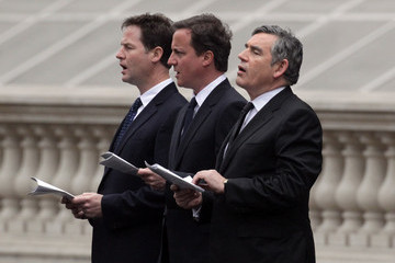 Gordon Brown David Cameron VE Day 65th Anniversary Tributes Observed At Cenotaph