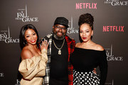 (L-R) Bresha Webb, Lil Rel Howery and Melyssa Ford attend VIP Screening of Tyler Perry's A Fall From Grace with Bresha Webb at Neuehouse in Los Angeles on January 09, 2020 in Hollywood, California.