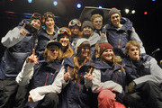 Members of the United States Olympic Freeskiing Team celebrate after being named to the team on day two of the Visa U.S. Freeskiing Grand Prix at Park City Mountain Resort January 18, 2014 in Park City, Utah.