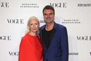 Christiane Arp and Andre Pollmann  attend the VOGUE Fashion Party at Kunstareal am Weissensee on July 6, 2018 in Berlin, Germany.