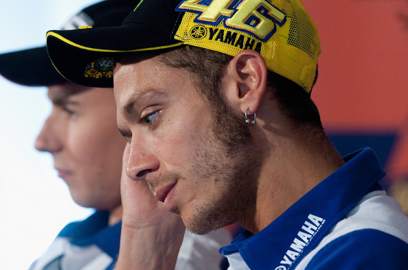 Valentino Rossi of Italy and Fiat Yamaha Team thinks during the press conference pre-event of motogp of San Marino in Misano World Circuit of on September 2