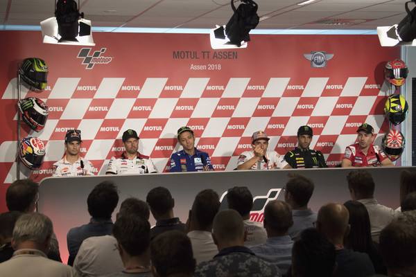 MotoGP Netherlands - Previews [previews,games,news conference,stage equipment,event,indoor games and sports,recreation,championship,competition event,technology,room,dani pedrosa,cal crutchlow,movistar yamaha motogp,l-r,netherlands,spain,great britain,repsol honda team,lcr honda]