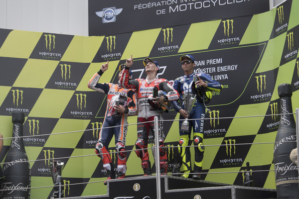 MotoGp Of Catalunya - Race [technology,stage equipment,electronic device,podium,pattern,competition,team,marc marquez,motogp,l-r,movistar yamaha motogp,podium,spain,repsol honda team,ducati team,catalunya - race,end]