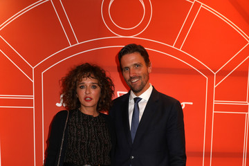 Valeria Golino Re-Opening Men's Salvatore Ferragamo Store in Rome