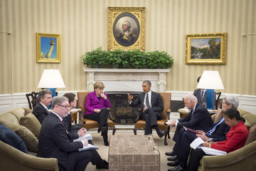 Valerie Jarrett Barack Obama and Angela Merkel Press Conference